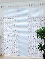 Two Panels European Style Simple Style Plain Linen Yarn Curtain