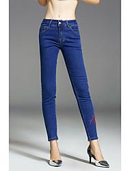 Feminino Simples Cintura Média Micro-Elástica Justas/Skinny Jeans Calças,Skinny Sólido,Com Corte