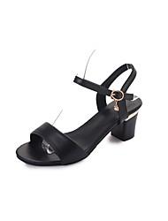 Women's Sandals Comfort Summer PU Walking Shoes Casual Low Heel White Black 3in-3 3/4in