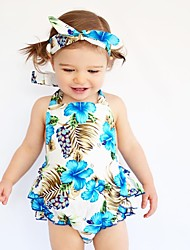 Baby Floral Print One-Pieces Cotton Summer Sleeveless Flower Romper Baby Girls Bodysuits with Headband Fashion Newborn Infant Clothes