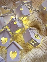 Деревянная форма дома 10 светодиодных ламп проволочной струны запинки с батарейным ящиком рождественские огни для праздничного свадебного