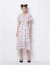 Balançoire Robe Femme Sortie Mignon,Imprimé Col Arrondi Midi Manches Courtes Polyester Eté Taille Normale Micro-élastique Moyen