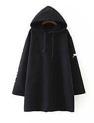 Ample Robe Femme Sortie Décontracté / Quotidien simple Chic de Rue,Couleur Pleine Imprimé Capuche Mi-long Manches Longues Coton Autres