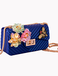 Women Shoulder Bag Silica Gel All Seasons Wedding Event/Party Formal FlapRhinestone Appliques Sparkling Glitter Bead Seemless Sequined