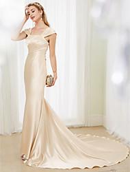 Русалка Со шлейфом средней длины Стретч-сатин Свадебное платье с Бусины Перекрещивание от LAN TING BRIDE®