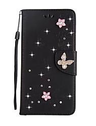 para el rhinestone de la carpeta del sostenedor de la tarjeta de la cubierta del caso con el cuero lleno de la PU de la mariposa del color