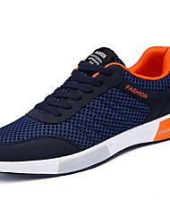 Для мужчин Спортивная обувь Удобная обувь Полиуретан Весна Осень Повседневные Для прогулок Шнуровка На плоской подошве Черный Серый Синий