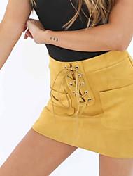 Mujer Sexy Chic de Calle Discoteca Mini Faldas,Corte Bodycon Primavera Otoño Un Color