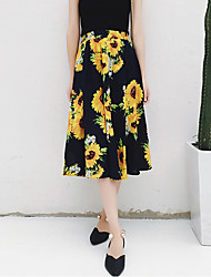 Women's Beach Going out Casual/Daily Midi Skirts,Simple A Line Swing Chiffon Floral Summer Fall