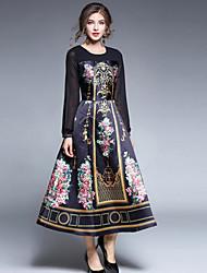 Для женщин На выход На каждый день Уличный стиль Шинуазери (китайский стиль) Изысканный А-силуэт С летящей юбкой Платье С принтом,Круглый