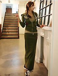 Sweat à capuche Jupe Costumes Femme,Couleur Pleine Imprimé Décontracté / Quotidien simple Printemps Eté Manches longues Micro-élastique