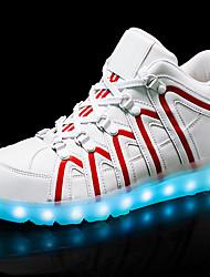Homme Baskets Confort Chaussures Lumineuses Cuir Printemps Eté Automne Hiver Athlétique Décontracté Marche LED Talon BasNoir/blanc