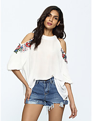 Women's Casual/Daily Simple Fall T-shirt,Embroidery Off Shoulder Long Sleeves Cotton