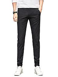 Homme simple Taille Normale Micro-élastique Chino Pantalon,Droite Mince Couleur Pleine Tartan