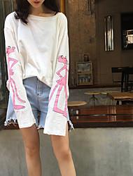 Damen Druck Einfach Lässig/Alltäglich T-shirt,Mit Kapuze Langarm Baumwolle
