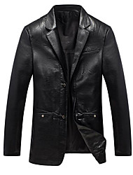 Men's Going out Casual/Daily Street chic Fall Winter Blazer,Solid Peaked Lapel Long Sleeve Regular PU Polyester