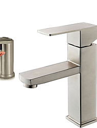 Single Handle Bathroom Vanity Sink Faucet with Extra Large Rectangular Spout With Premium Automatic Soap Dispenser