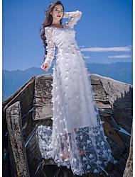 Feminino balanço Vestido,Casual Sólido Decote V Longo Manga Longa Seda Primavera Cintura Média Micro-Elástica Leve Transparência