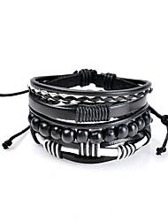 Men's Women's Leather Bracelet Jewelry Basic Bohemian Punk Hip-Hop Handmade Luxury Costume Jewelry Leather Circle Geometric Jewelry For