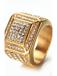 Men's Band Rings Rhinestone Fashion Vintage Luxury Bling Bling Elegant Titanium Steel Jewelry Jewelry For Birthday Gift Daily Club Street