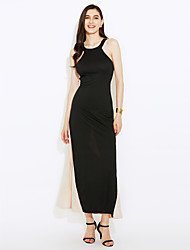 Women's Sexy Contrast Color Stitching Halter Maxi Dress