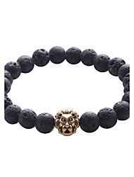 Lureme Lava Rock Stone Matte Black Agate Mens Gemstone Beads Elastic Bracelet with Lion Head
