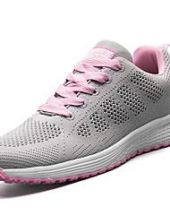 Femme Chaussures d'Athlétisme Confort Tulle Printemps Automne Décontracté Marche Lacet Talon Plat Noir Violet Fuchsia 5 à 7 cm