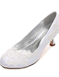 Women's Wedding Shoes Comfort Basic Pump Spring Summer Satin Wedding Party & Evening Dress Satin Flower Flower Low Heel Kitten Heel