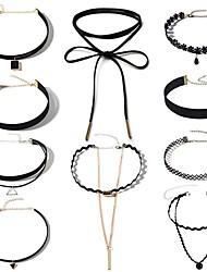 Mujer Collar Obsidiana Sexy Moda Ajustable Personalizado Perla Artificial Legierung Para Diario Fiesta de Noche Noche Escuela Calle