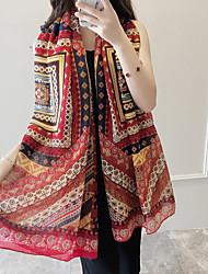 Women's Beach Chiffon Circle Flowers Printing Scarf Long Section Sunscreen Decorative Silk