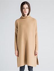 Mujer Regular Pullover Casual/Diario Simple,Un Color Cuello Alto Manga Larga Lana Algodón Poliéster Otoño Invierno Grueso Microelástico