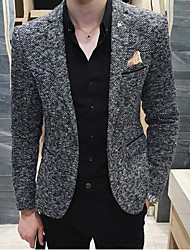 Men's Going out Casual/Daily Street chic Spring Blazer,Solid Peaked Lapel Long Sleeve Regular Polyester