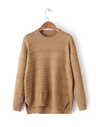 Normal Pullover Femme Sortie Décontracté / Quotidien simple Mignon,Couleur Pleine Col Arrondi Manches Longues Laine CotonPrintemps