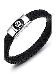 Men's PU Bracelet Handmade Fashion Hip-Hop Personalized Simple Casual Titanium Steel Bangle Sport Jewelry For Birthday
