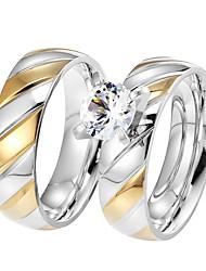 Paar Eheringe Kubikzirkonia Modisch Vintage Elegant Titan Stahl Zirkon Kreisform Schmuck FürHochzeit Verlobung Alltag Zeremonie Party