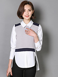 Women's Casual/Daily Simple Shirt,Color Block Shirt Collar Long Sleeves Cotton