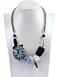 Women's Statement Necklaces Imitation Pearl Flower Geometric Faux Silk Alloy Dangling Style Petals Jewelry ForAnniversary Congratulations