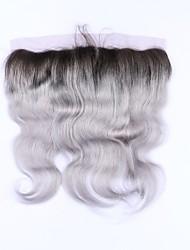 Beata hair 1b серая волна тела 13x4 кружева передняя часть закрытие ombre бразильские человеческие волосы серая лобная нет remy hair