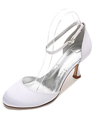 Women's Wedding Shoes Comfort D'Orsay & Two-Piece Spring Summer Satin Wedding Dress Party & Evening Hollow-out Low Heel Kitten Heel