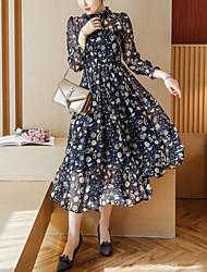 Women's Going out Boho Fashion Slim Chiffon Swing Dress Print Ruffle Pleated Round Neck Midi Long Sleeves Navy Blue Spring Fall Mid Rise