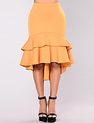 Women's Going out Casual/Daily Holiday Over Hip All MatchKnee-length SkirtsSexy Simple Street chic Bodycon Trumpet/Mermaid Ruffle Solid Spring Summer
