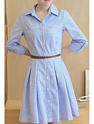 Women's Casual/Daily A Line Dress,Solid Striped Shirt Collar Knee-length Long Sleeves Cotton Spandex Fall Mid Rise Inelastic Medium
