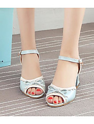 Women's Sandals Comfort PU Summer Casual Blushing Pink Blue White 3in-3 3/4in