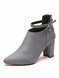 Femme Bottes Chaussures formelles Daim Automne Habillé Soirée & Evénement Marche Boucle Gros Talon Noir Gris clair Vin 5 à 7 cm
