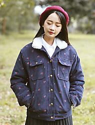 Feminino Padrão Casaco Acolchoado,Simples Estampado Casual-Lã Lã Manga Longa