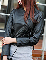 Women's Casual/Daily Simple Spring Leather Jacket,Solid Round Neck Long Sleeve Short PU