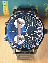 JUBAOLI Men's Sport Watch Quartz Alloy Band Silver
