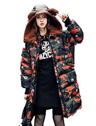 Пальто Простое Длинная На подкладке Для женщин,камуфляж На каждый день Хлопок Полипропилен,Длинный рукав