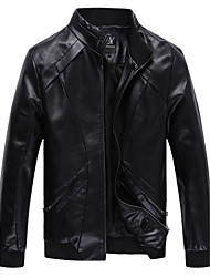 Men's Plus Size Fashion Slim Stand Collar High Quality Motorcycle Leather Jacket