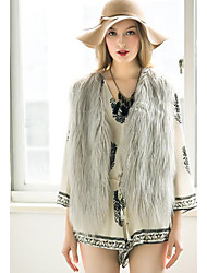 Women's Going out Simple Fall Winter Vest,Solid V Neck Sleeveless Short Faux Fur